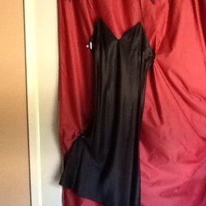 Black silk mid length slip